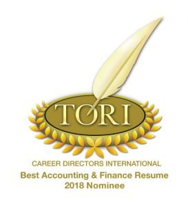 TORI Award Nominee 2018 Best Accounting Finance Resume